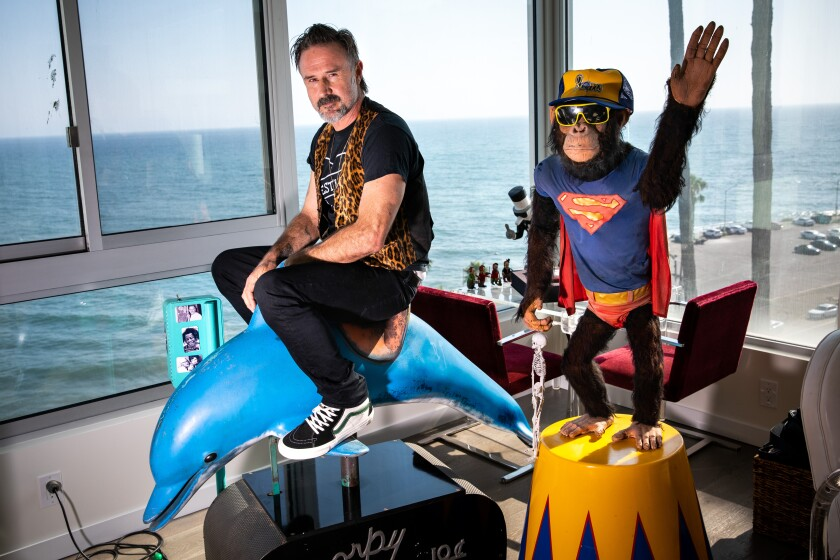 David Arquette sits on a dolphin figure in front of a window with the ocean visible outside.