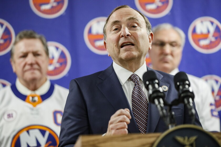 NHL commissioner Gary Bettman speaks during a news conference before an NHL hockey game between the Boston Bruins and New York Islanders, Saturday, Feb. 29, 2020, in Uniondale, NY. (AP Photo/John Minchillo)