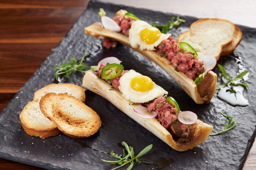 Bone marrow with filet of beef tartare at Liberty Call Distilling.