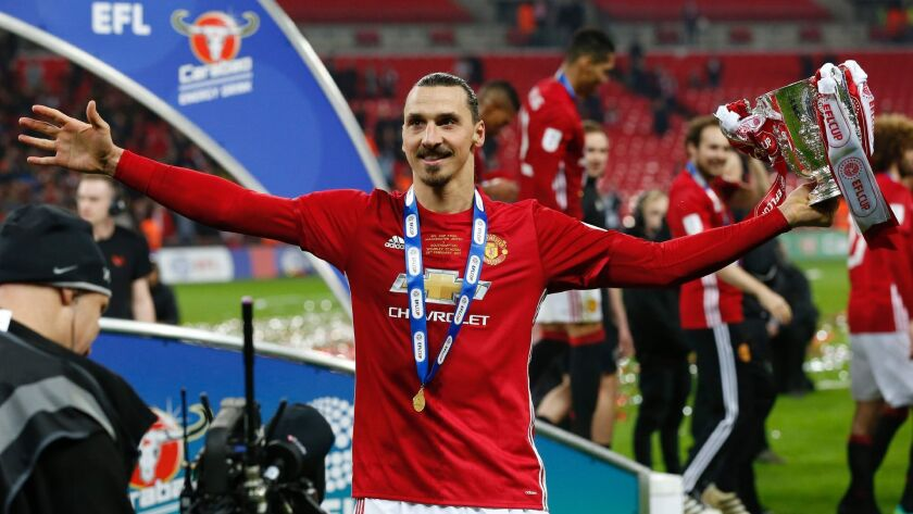 Manchester United's Zlatan Ibrahimovic celebrates after the team's victory over Southampton in the English League Cup final on Feb. 26.