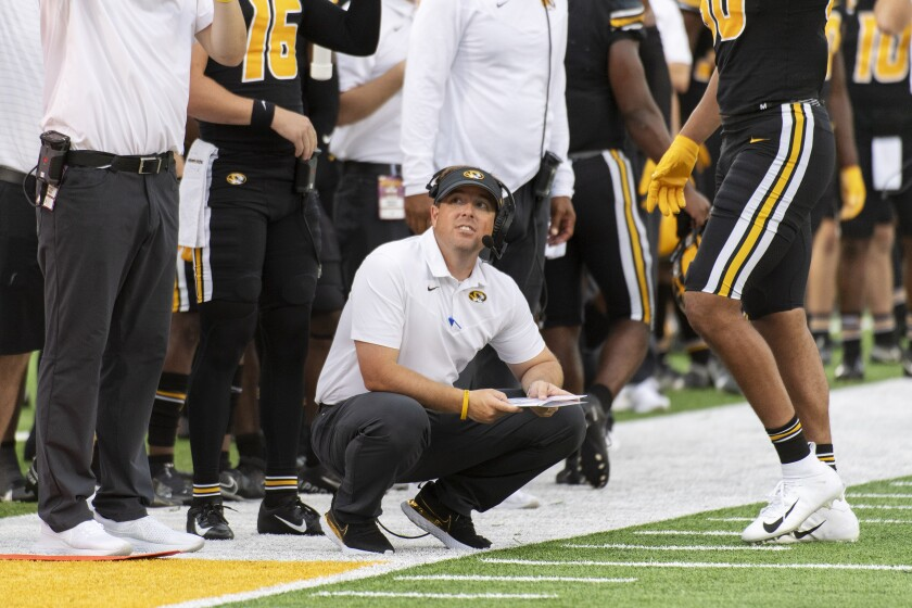 Missouri head coach Eliah Drinkwitz watches from the sideline during the fourth quarter of an NCAA college football game against North Texas, Saturday, Oct. 9, 2021, in Columbia, Mo. (AP Photo/L.G. Patterson)