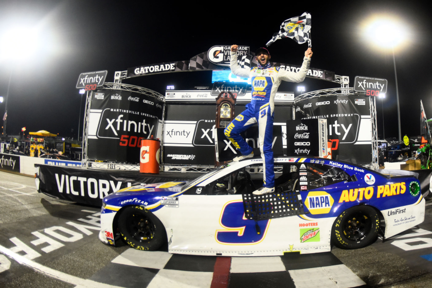 Chase Elliott celebrates in victory lane after winning Sunday's NASCAR Cup race at Martinsville Speedway.
