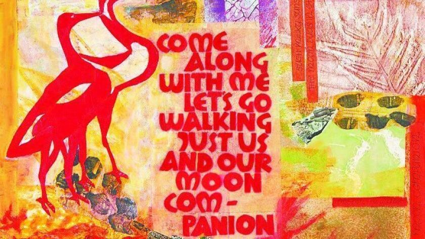 """A page from the """"Over the Moon""""€ project, a collaborative work created by 40 San Diego artists."""