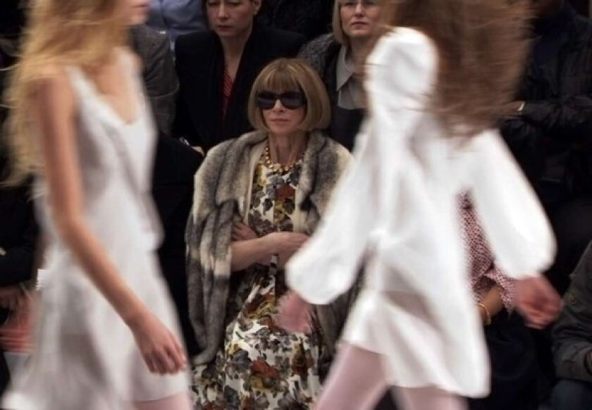 """Anna Wintour, editor of Vogue, in her customary front-row seat at a fashion show -- as seen in a clip from the documentary """"The September Issue."""""""