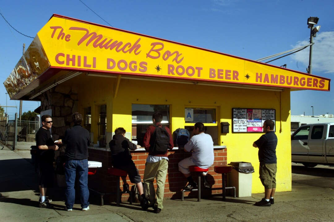 People wait at the Munch Box in Chatsworth