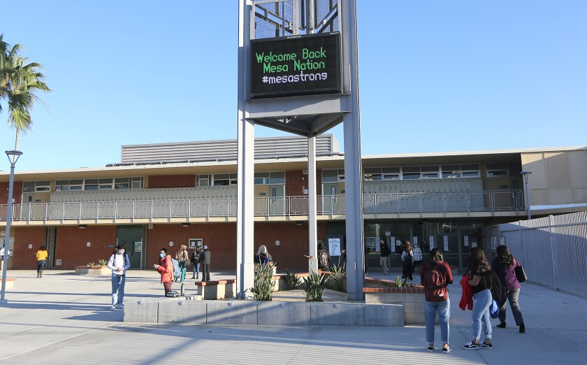 Students return to Costa Mesa High school on Nov. 9 after months of distance learning.
