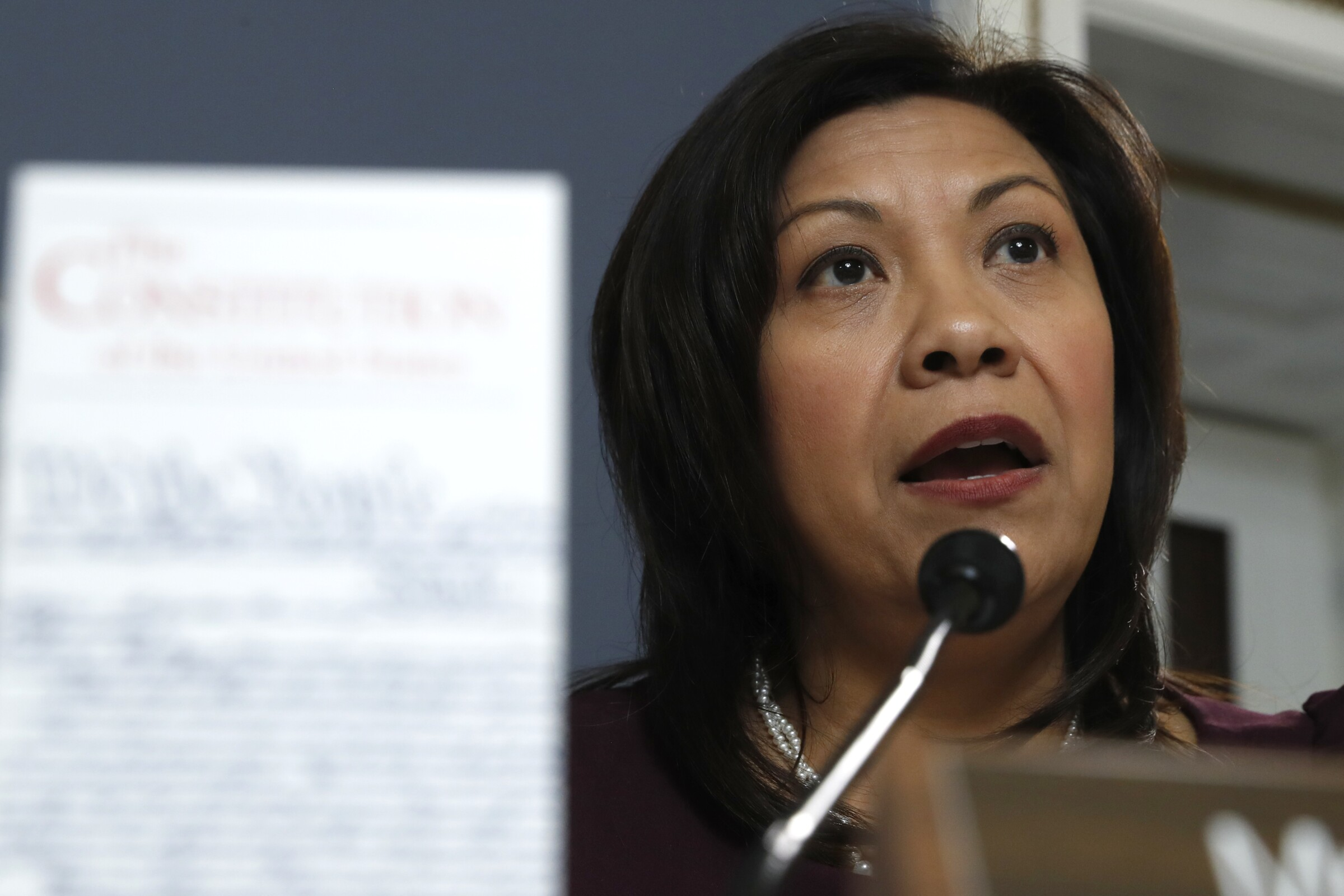 U.S. Rep. Norma Torres argues against an amendment during a House Rules Committee meeting.