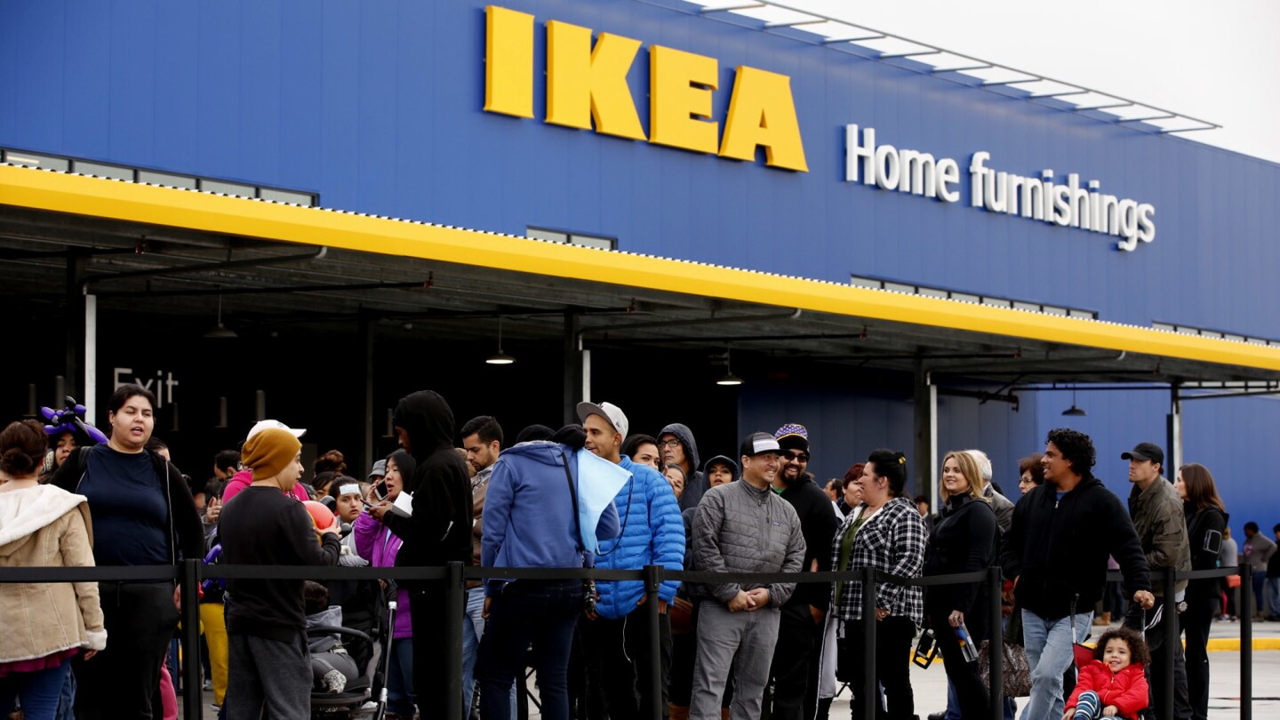More than a thousand people wait in line outside IKEA, which opened the doors to its new Burbank location — the largest IKEA store in North America, at 456,000 square feet — on Wednesday.
