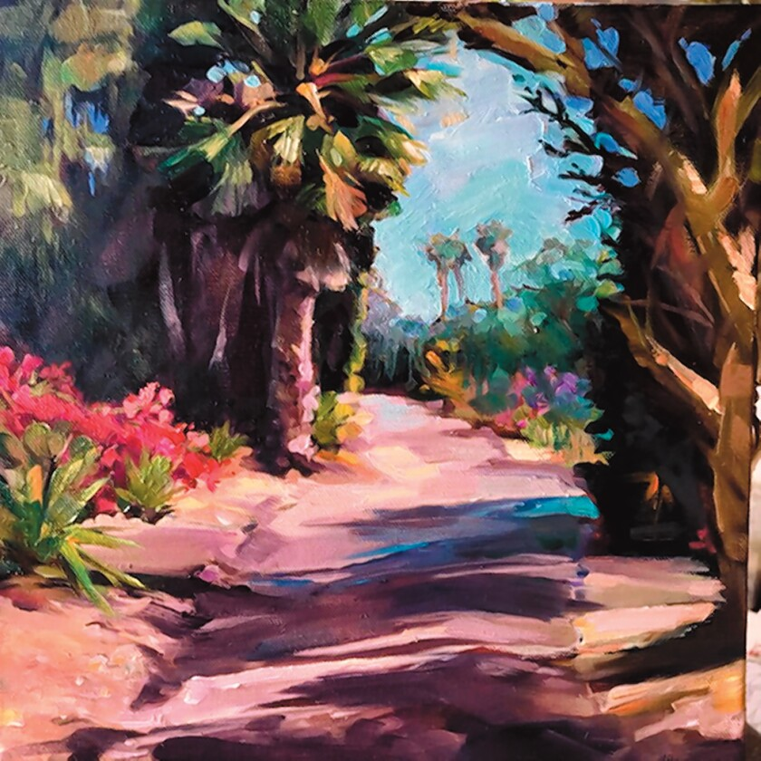 See Cherry Sweig's 'From Trolley to Hidden Path' at La Jolla Library's 'Hidden La Jolla' art exhibit by local artists.