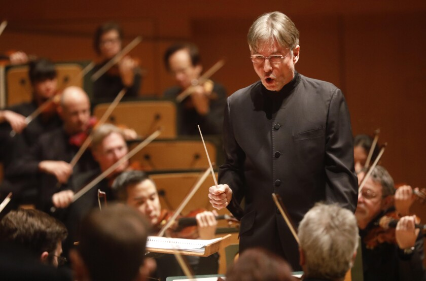 """Esa-Pekka Salonen conducting the L.A. Phil in Hindemith's """"Rag Time"""" on Friday."""