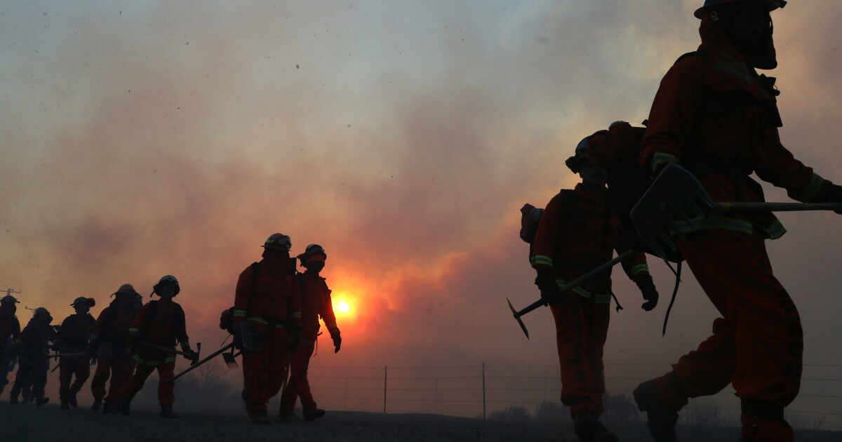 Inmate firefighters walking while the sun rises amongst ashy clouds behind them.