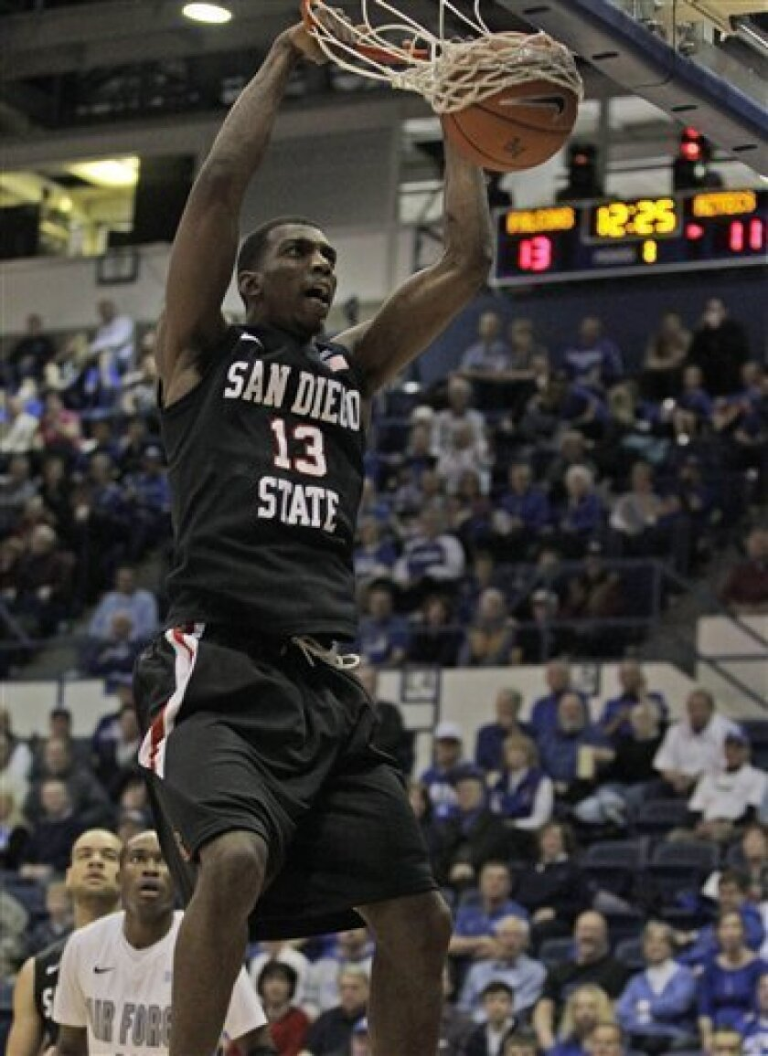 San Diego State's Winston Shepard scores against Air Force during an NCAA basketball game at Air Force Academy, Colo., Saturday, Feb. 2, 2013. (AP Photo/Brennan Linsley)