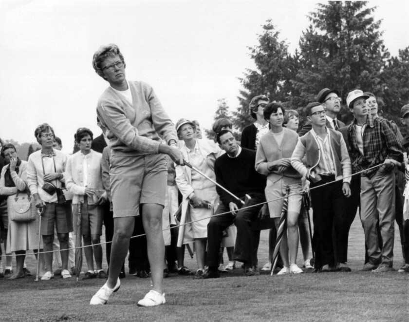 The gallery follows Mickey Wright's iron shot from the fairway at the Toronto Golf Club in 1967.