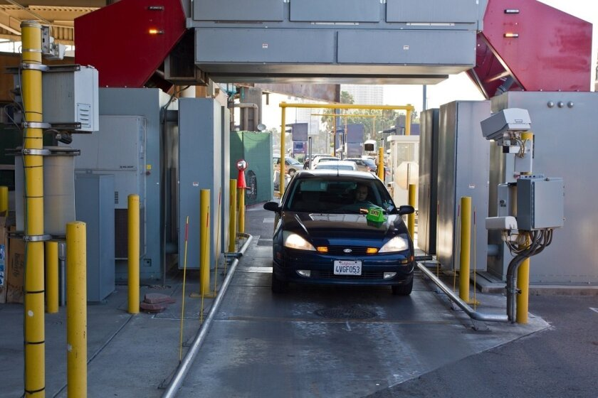 A vehicle goes through an X-Ray machine checking for contraband at the San Ysidro port of entry