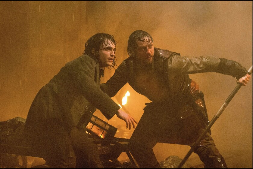 "Trusty assistant Igor (Daniel Radcliffe), left, and his mad-scientist benefactor (James McAvoy) get themselves in deep water in ""Victor Frankenstein."""