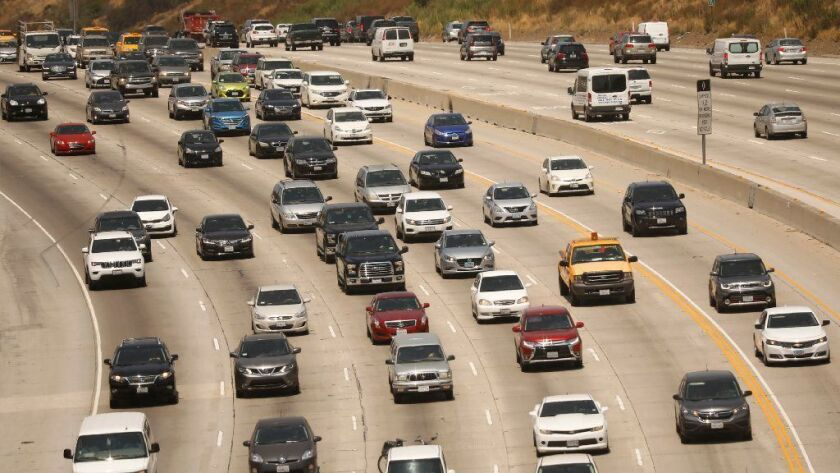 Traffic makes its way through the Sepulveda Pass on the 405 Freeway in August.