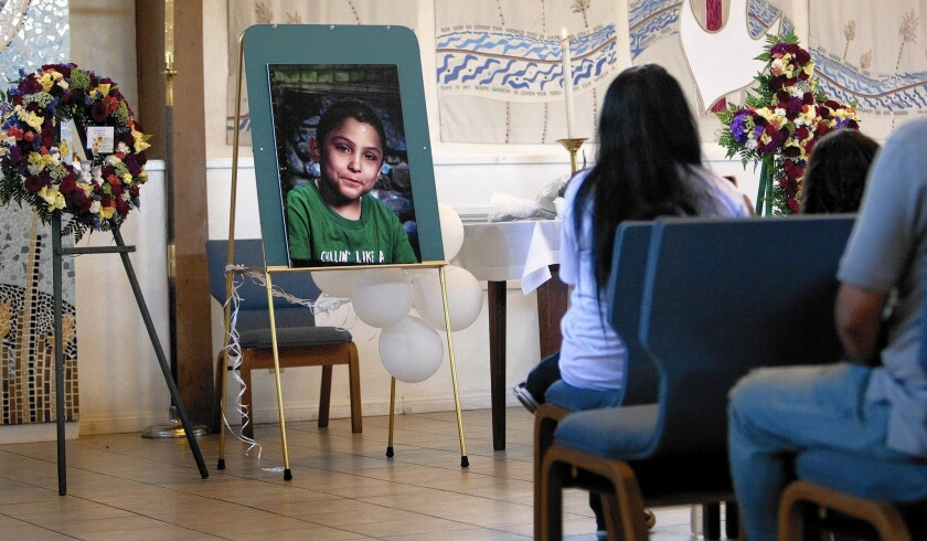 Family and friends attend a memorial service for Gabriel Fernandez, who was beaten to death. Officials acknowledge the death followed egregious errors by county social workers.