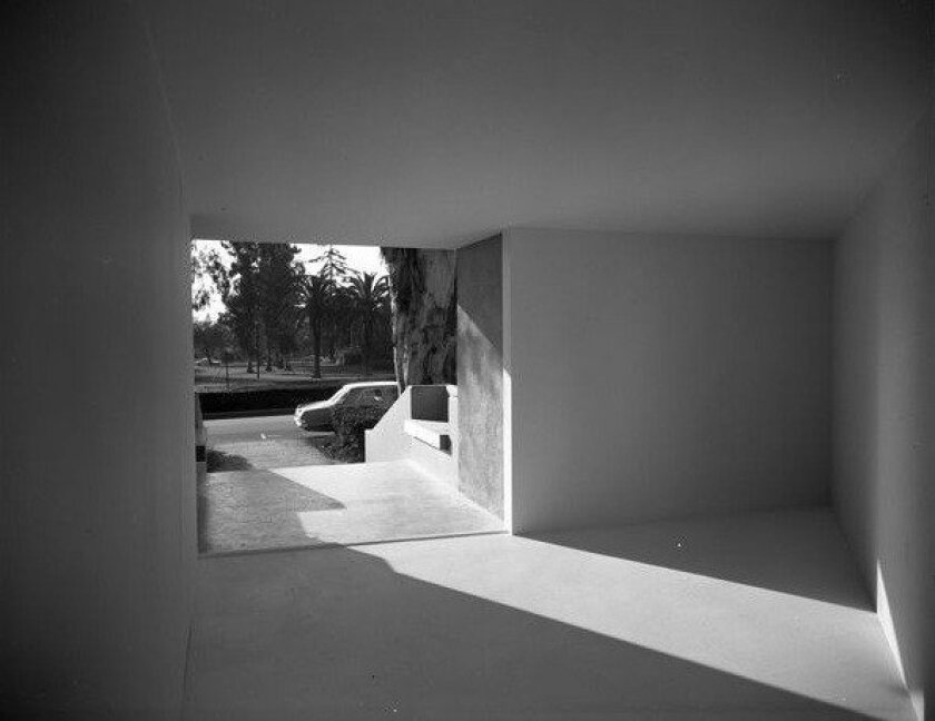 A view of Michael Asher's 1970 installation at Pomona College, looking out toward the street.