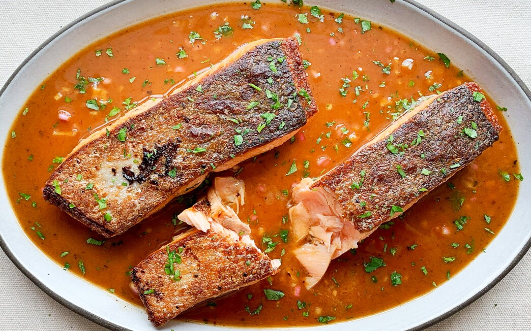 Salmon with crispy skin in a brown butter and chile vinaigrette