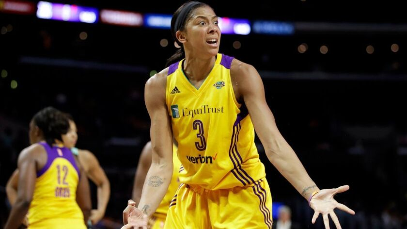 Sparks' Candace Parker reacts to a foul call on her during the second half against the New York Liberty on Friday.