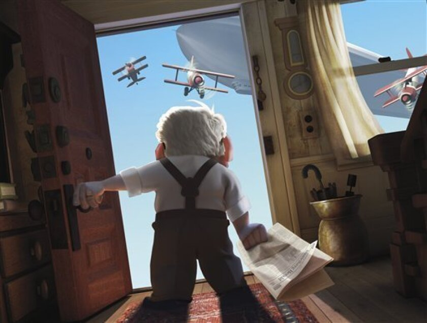"""In this image released by Disney/Pixar Films, animated character Carl Fredricksen is shown in a scene from the film, """"Up."""" (AP Photo/Disney/Pixar)"""