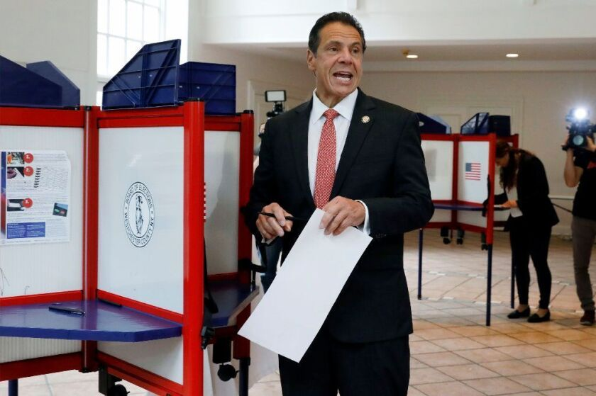 New York Gov. Andrew Cuomo speaks as he marks his primary election ballot at the Presbyterian Church of Mount Kisco, in Mount Kisco, N.Y. today.