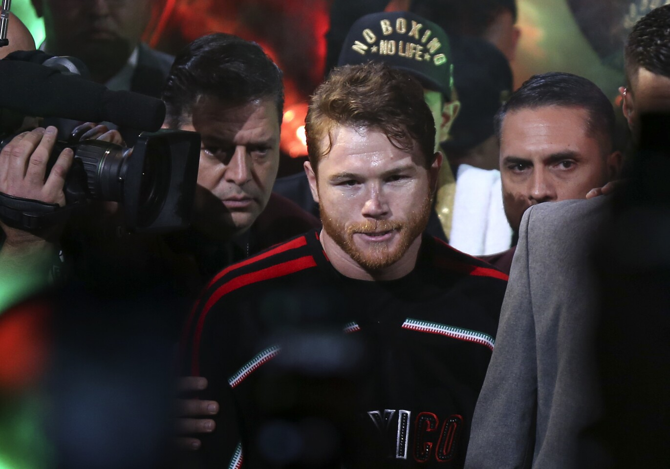 Canelo Alvarez enters T-Mobile arena for a middleweight title boxing match against Gennady Golovkin, Saturday, Sept. 15, 2018, in Las Vegas.