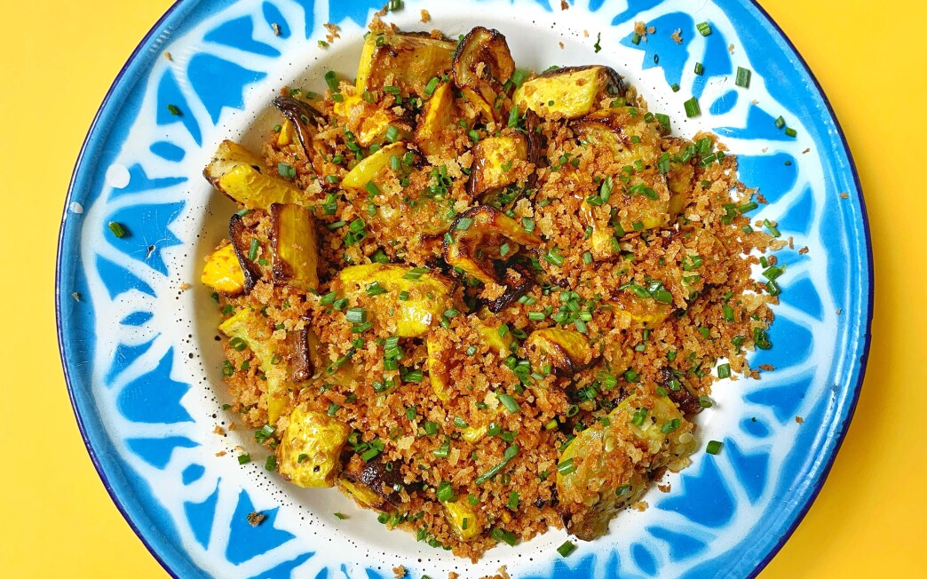 Summer squash, topped with crunchy breadcrumbs and chives, turns out deeply caramelized and flavorful in an air fryer.