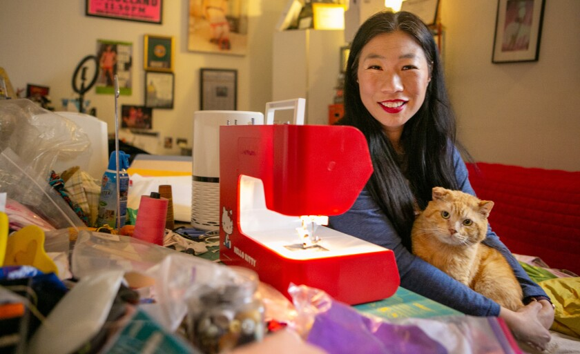 Kristina Wong leads the Auntie Sewing Squad.