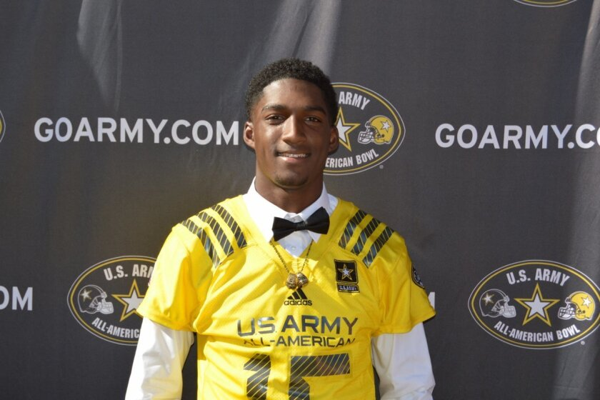Mission Hills senior Dechaun Holiday was presented with his U.S. Army All-American Bowl jersey on Tuesday.