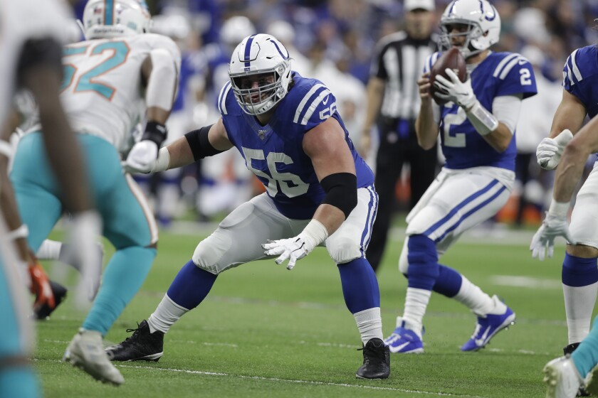FILE - In this Nov. 10, 2019, file photo, Indianapolis Colts offensive guard Quenton Nelson (56) looks to block against the Miami Dolphins during the first half of an NFL football game in Indianapolis. Nelson thinks he'll have plenty of time to prepare for next month's scheduled opener at Jacksonville. And the interior linemen will face stiff competition in practice this year, too, with the daily head-to-head contest against newly acquired Pro Bowl defensive tackle DeForest Buckner. (AP Photo/Darron Cummings, File)