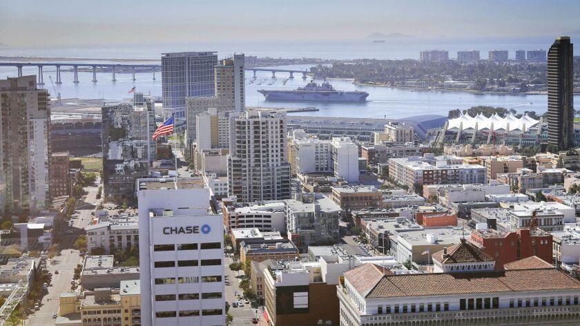 SAN DIEGO, CA 10/17/2018: The Navy amphibious assault ship USS Boxer makes its way through San Diego
