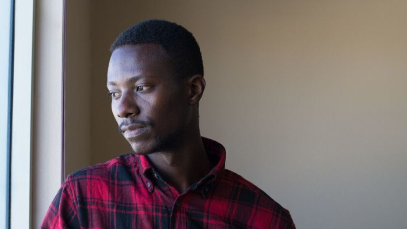 Christian Ilaka, 25, came to the U.S. in February after living for eight years in a refugee camp in