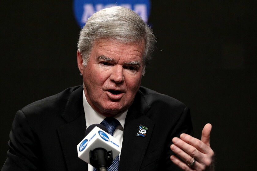 NCAA president Mark Emmert opposes efforts to allow college athletes to be paid for the use of their names, images and likenesses.