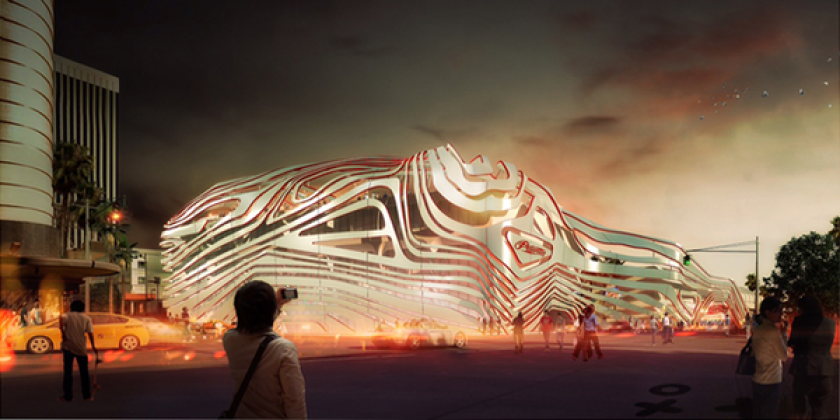 A rendering of the proposed facade of the Petersen Automotive Museum. It would be part of a plan to remodel the museum and update exhibits.
