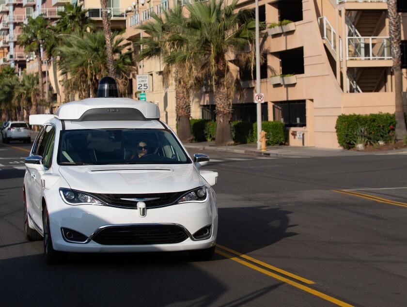 A Waymo van mapping LA streets.