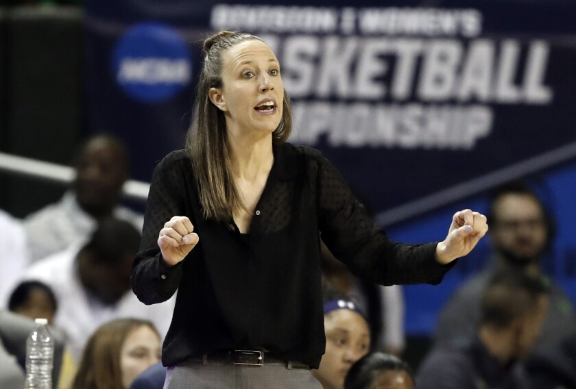 FILE - In this March 23, 2019, file photo, California head coach Lindsay Gottlieb instructs her team in the first half of a first round women's college basketball game in the NCAA Tournament, in Waco, Texas. Lindsay Gottlieb is returning to the Pac-12 as the head women's basketball coach at Southern California. The school on Monday, May 10, 2021, announced the hiring of Gottlieb, an assistant coach with the NBA's Cleveland Cavaliers. (AP Photo/Tony Gutierrez, File)