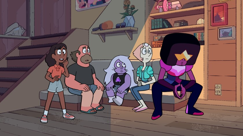Connie, left, Greg, Amethyst, Pearl and Garnet are worried about Steven.