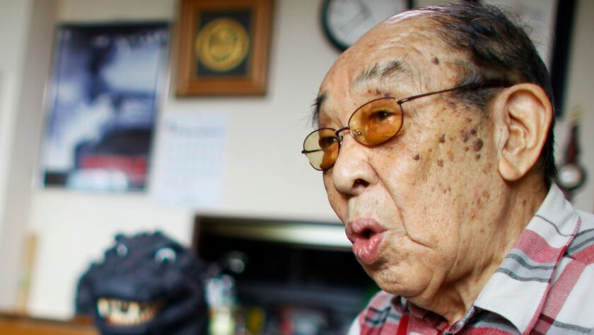 Original Godzilla actor Haruo Nakajima in his home in Sagamihara, near Tokyo, on April 28, 2014.