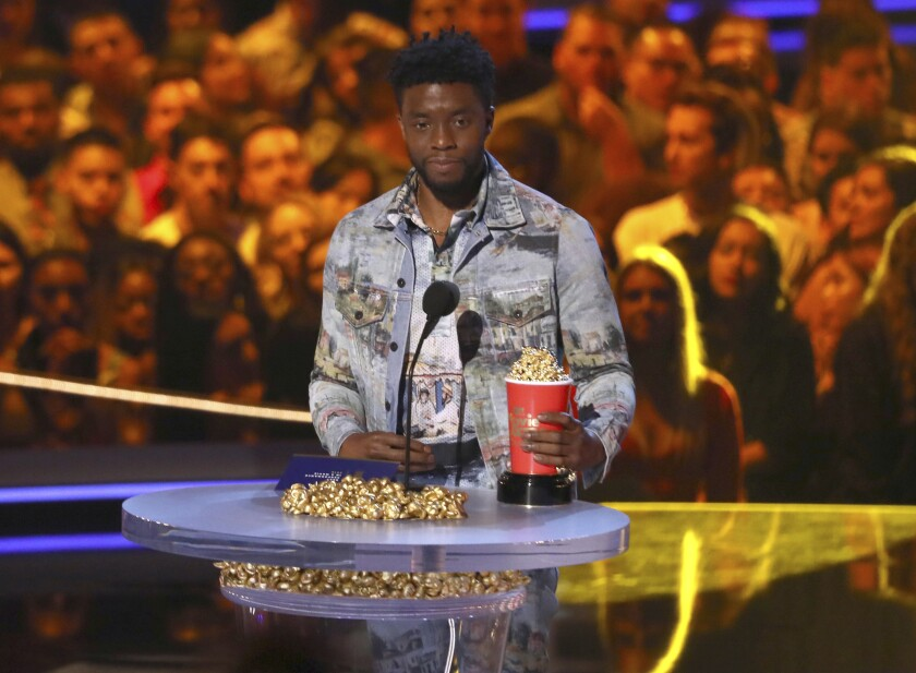 Chadwick Boseman at the 2018 MTV Movie and TV Awards