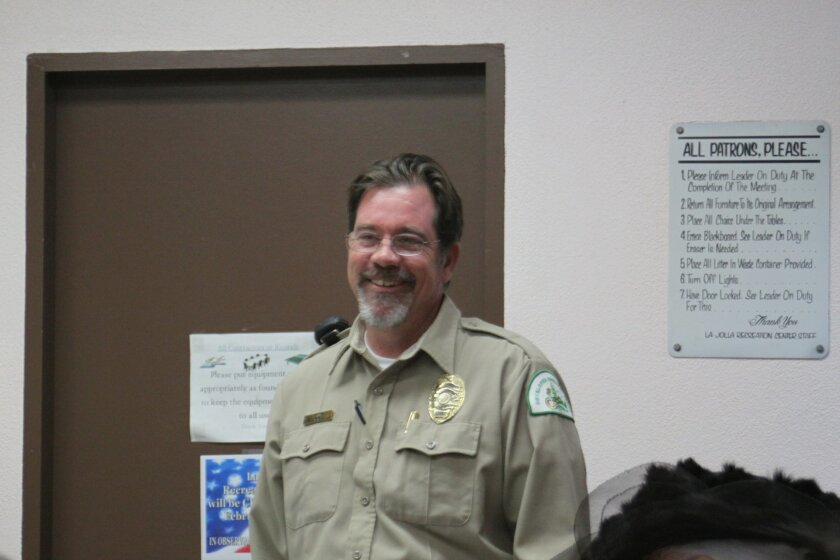 Park ranger Parish Rye speaks at the La Jolla Parks & Beaches meeting Jan. 26.
