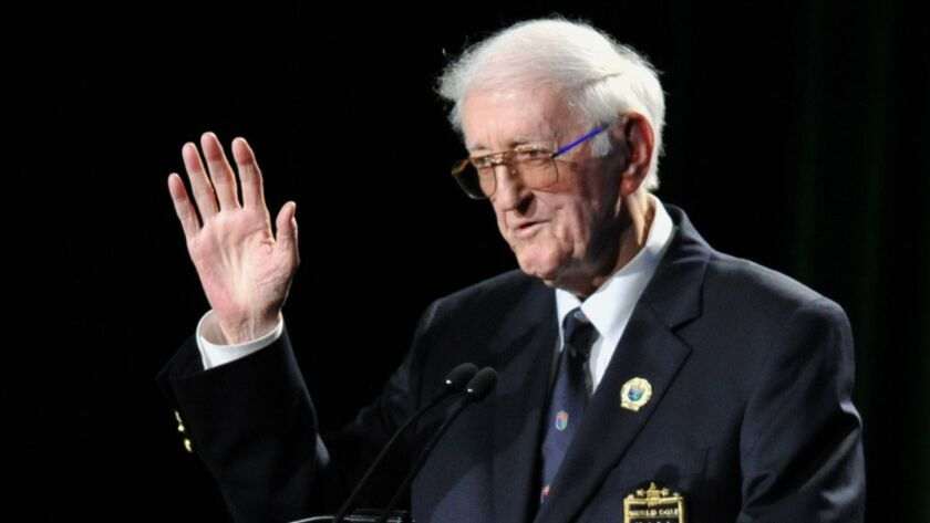 Sportswriter Dan Jenkins speaks after receiving the lifetime achievement award during the World Golf Hall of Fame inductions at World Golf Village in St. Augustine, Fla., in May 2012.