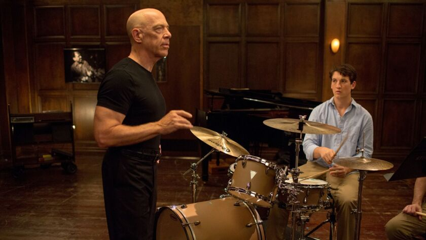 This image released by Sony Pictures Classics shows J.K. Simmons, left, and Miles Teller in a scene