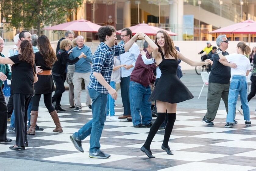 Segerstrom Center for the Arts used to have free Tuesday Night Dance classes in their plaza during the summer. This year, they're transitioning as much as they can to online classes.