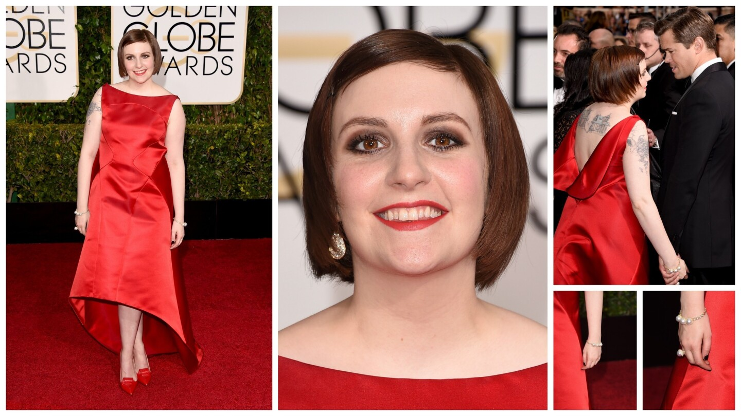 """The """"Girls"""" star wore this red Zac Posen dress to the 2015 Golden Globes."""