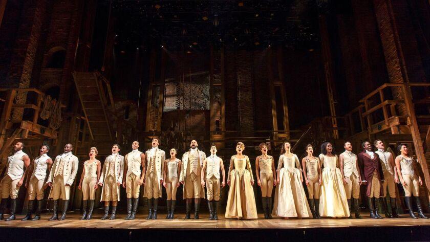 """Hamilton"" begins performances in San Diego tomorrow."