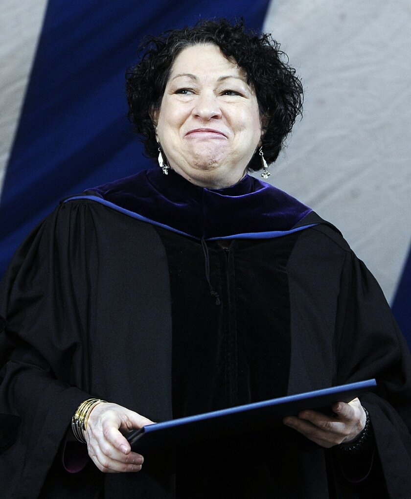 File-In this May 20, 2013,  file photo, Supreme Court Justice Sonia Sotomayor smiles after receiving a Honorary Doctor of Laws during commencement at Yale University in New Haven, Conn. But for the first time in a decade, a New York City mayor won't be attending the countdown at the crossroads of t