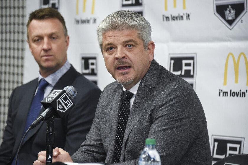Kings coach Todd McLellan speaks during his introductory news conference.