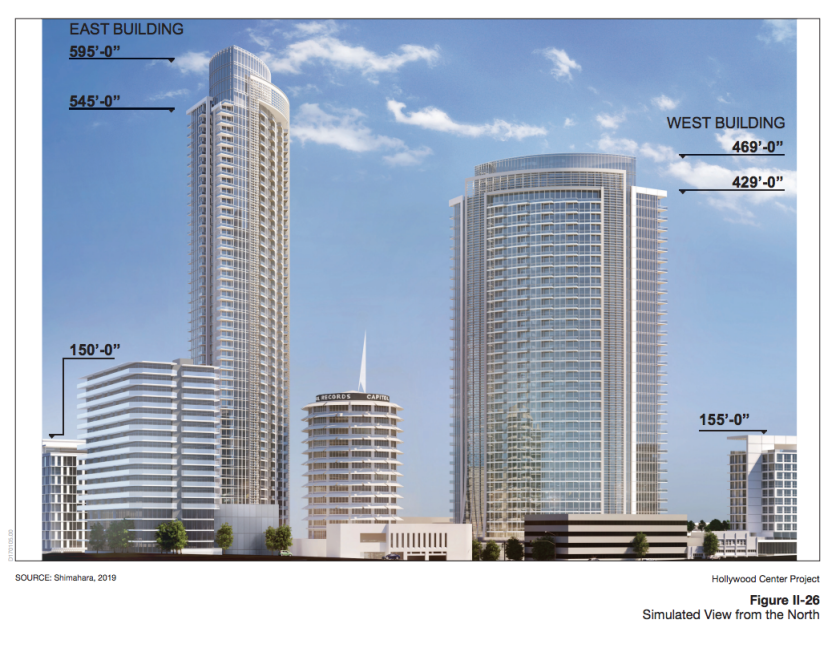 The proposed Hollywood Center project includes 46- and 35-story buildings flanking the Capitol Records tower.