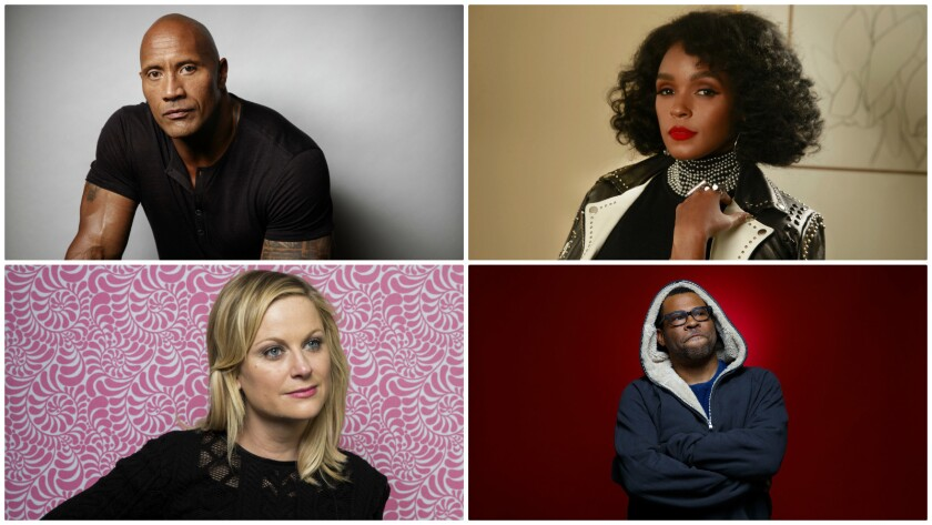 Four of this year's academy invitees, clockwise from top left: Dwayne Johnson, Janelle Monáe, Jordan